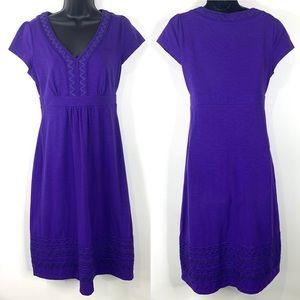 Boden Purple Cotton Blend Cap Sleeve Zigzag Dress